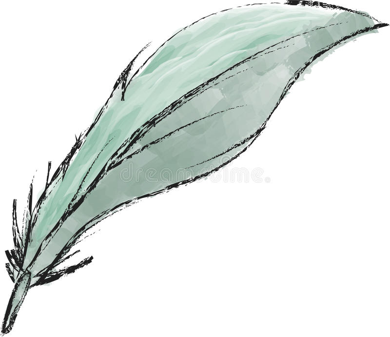 Feather. An elegant light blue feather royalty free illustration