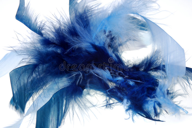 Feather abstract #2. Blue material abstract on white background stock photos