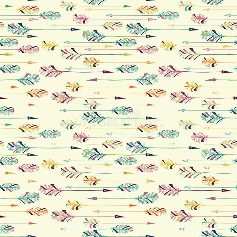 Feather arrow seamless pattern vector illustration