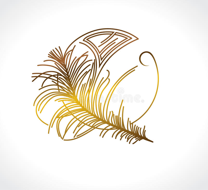 Feather Art Deco. Feather Vintage design. Art Deco stylized template vector illustration