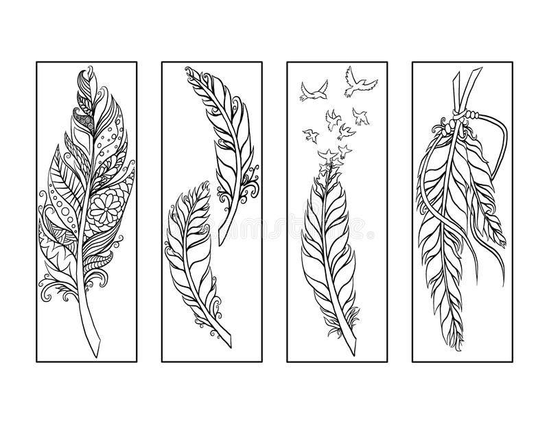 Feather bookmarks coloring page