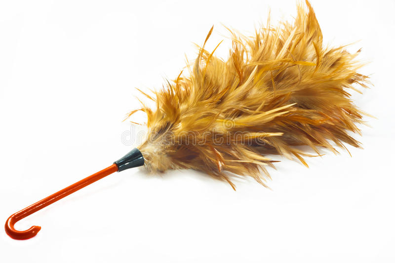 Feather duster. Over the white background stock photo