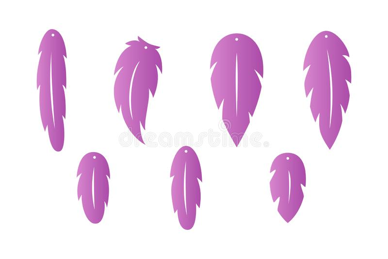 Feather earrings. Pendant. Laser cut template. Earrings with hole. Jewelry making. Vector stock illustration