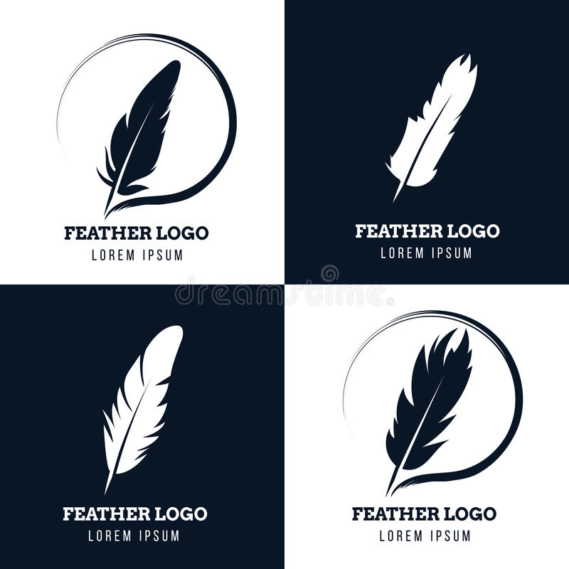 Feather, elegant pen, law firm, lawyer, writer literary vector logos set. Emblem with fluffy plume silhouette illustration royalty free illustration