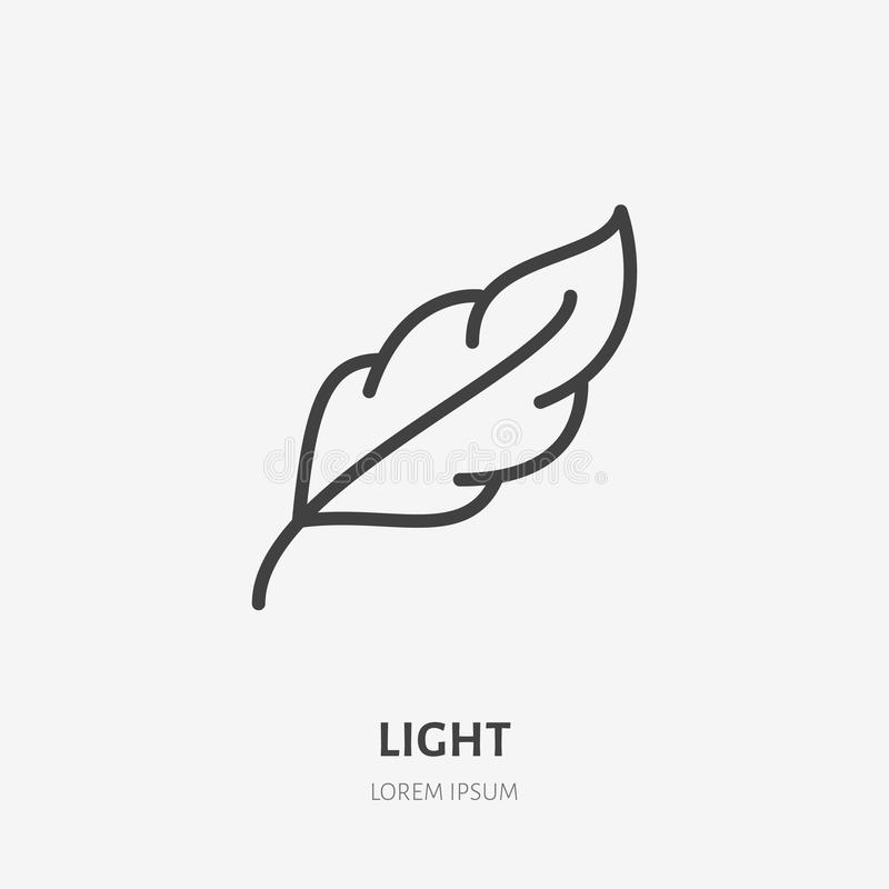Feather flat line icon. Soft, light weight feature sign. Thin linear logo.  royalty free illustration