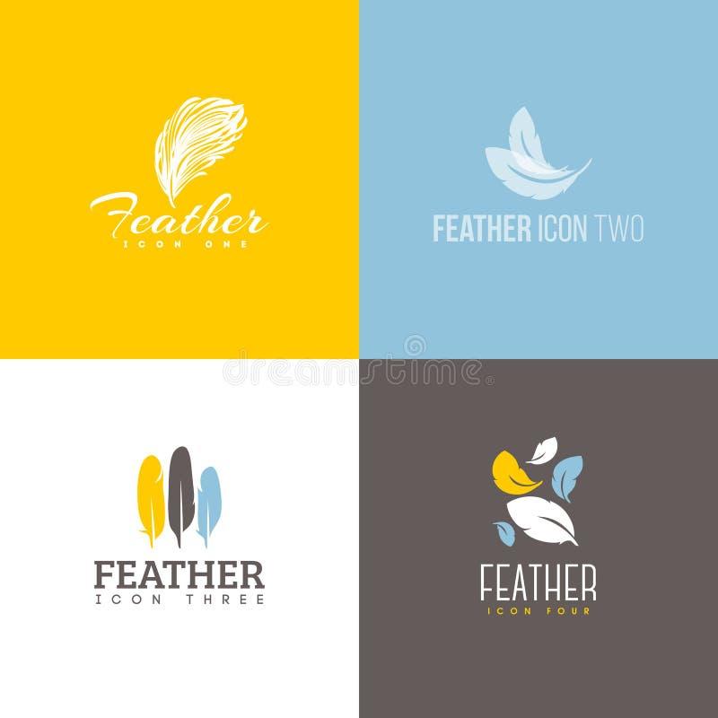 Feather icon. Set of logo design templates. Feather icon. Set of logo design vector templates royalty free illustration