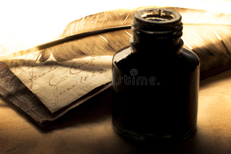 Download Feather and inkpot stock image. Image of knowledge, history - 25132049