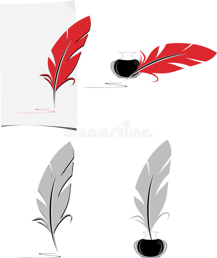 Feather and inkwell. Elements for the literary design royalty free stock photo