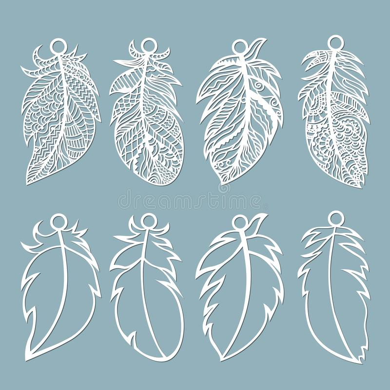 Feather. Laser cut. Feathers on a string. Template for laser cutting and Plotter. Vector illustration. Sticker. Pattern for the royalty free illustration