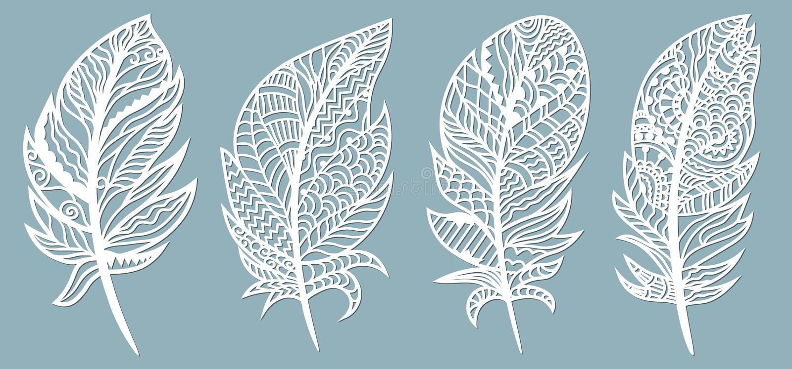 Feather. Laser cut. Template for laser cutting and Plotter. Vector illustration. Sticker. Pattern for the laser cut, serigraphy,. Plotter invitation design royalty free illustration