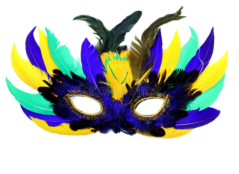 Feather Mardi Gras Mask. A colorful feather mask taken with a white background royalty free stock photography