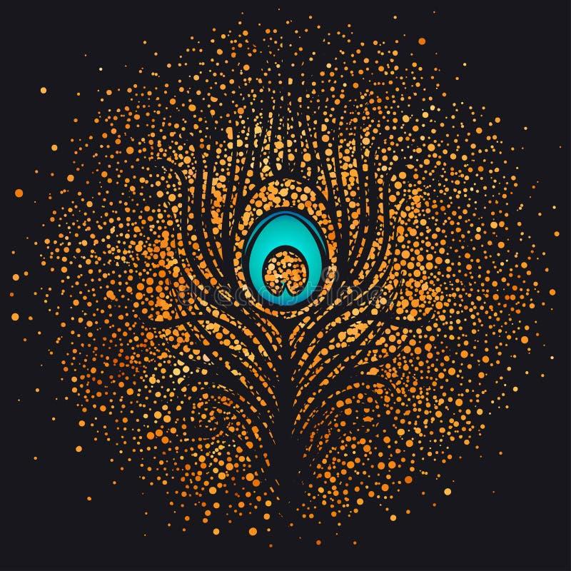 Feather over gold sparkling background. Retro vector illustratio stock illustration