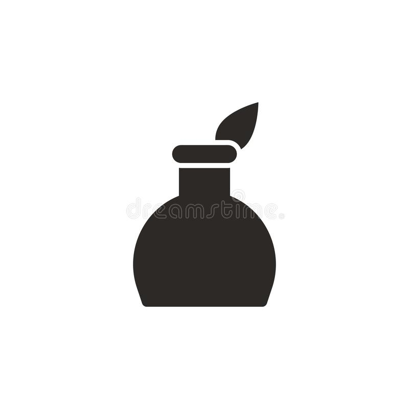 Feather pen, ink pot icon - Vector. Simple element illustration from UI concept. Feather pen, ink pot icon - Vector. Infographic stock illustration