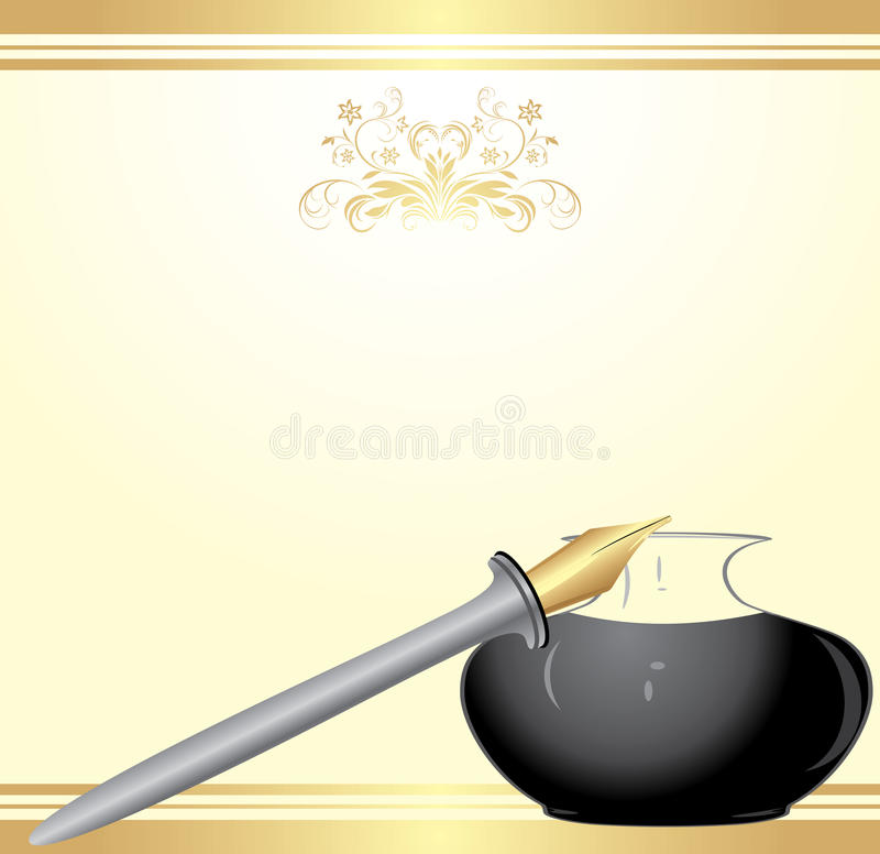 Feather pen and inkwell on the festive blank royalty free stock images
