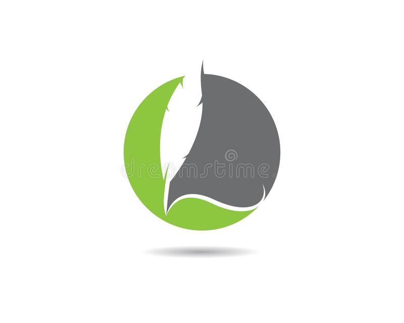 Feather pen Logo template. Vector illustration royalty free illustration