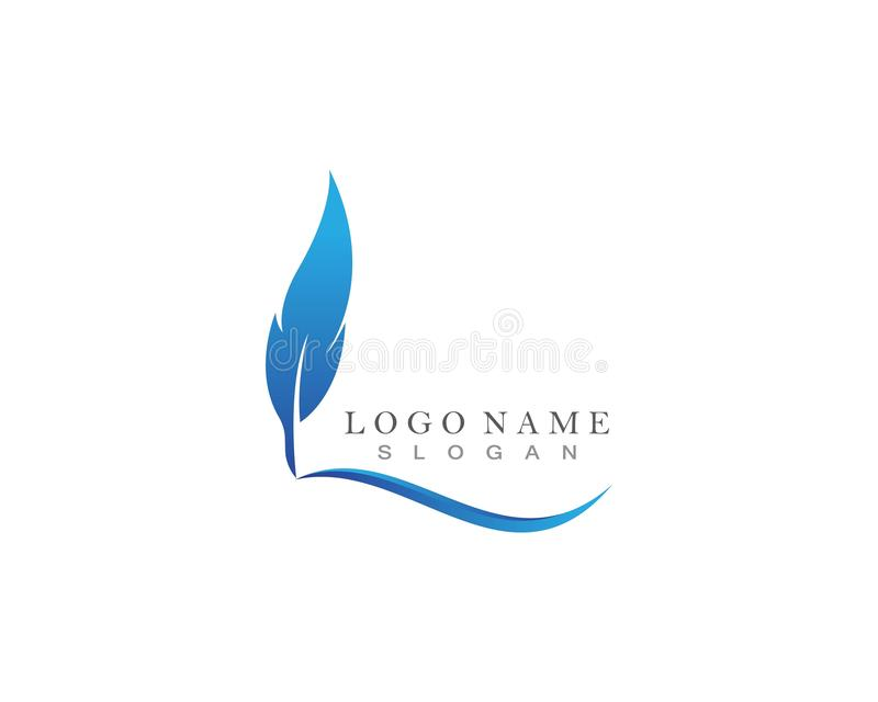 Feather pen Logo template Vector icon illustration royalty free illustration