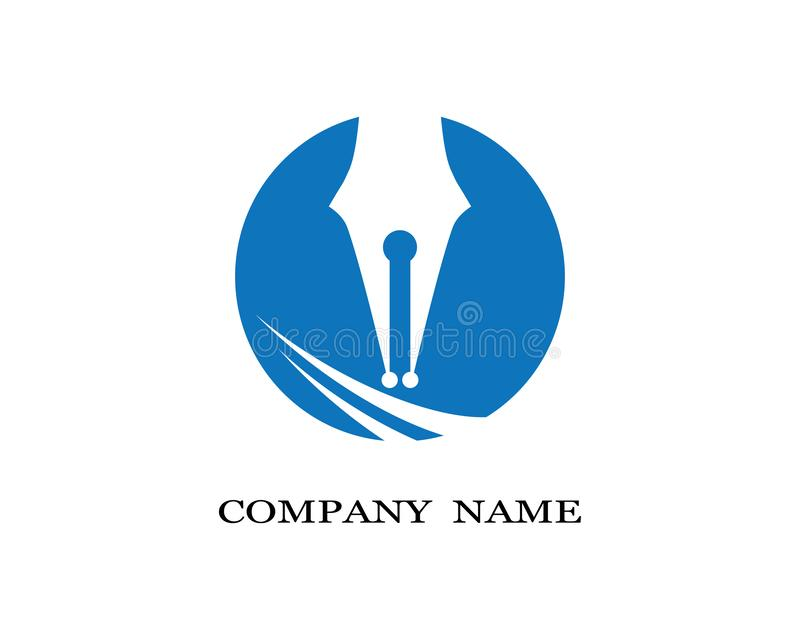 Feather pen Logo template Vector illustration. Vector logo design element on white background. Feather writing royalty free illustration