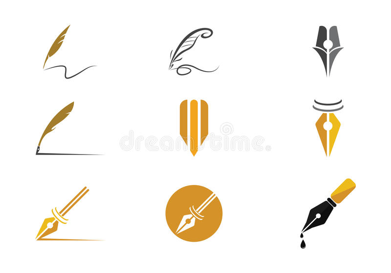 Feather pen Logo Vector. Vector logo design element on white background. Feather writing royalty free illustration