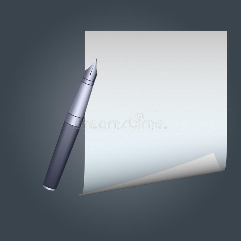 Download Feather pen on paper stock illustration. Image of sheet - 19057380