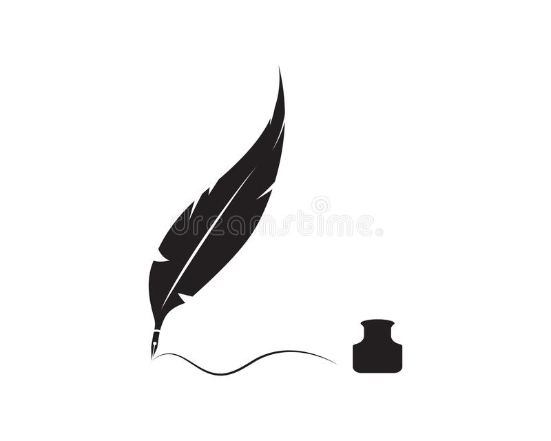 Feather pen write sign logo template. App icons vector illustration