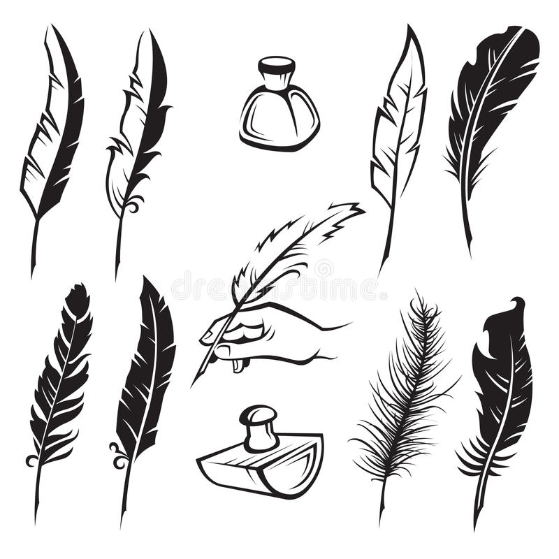 Feather pens royalty free illustration