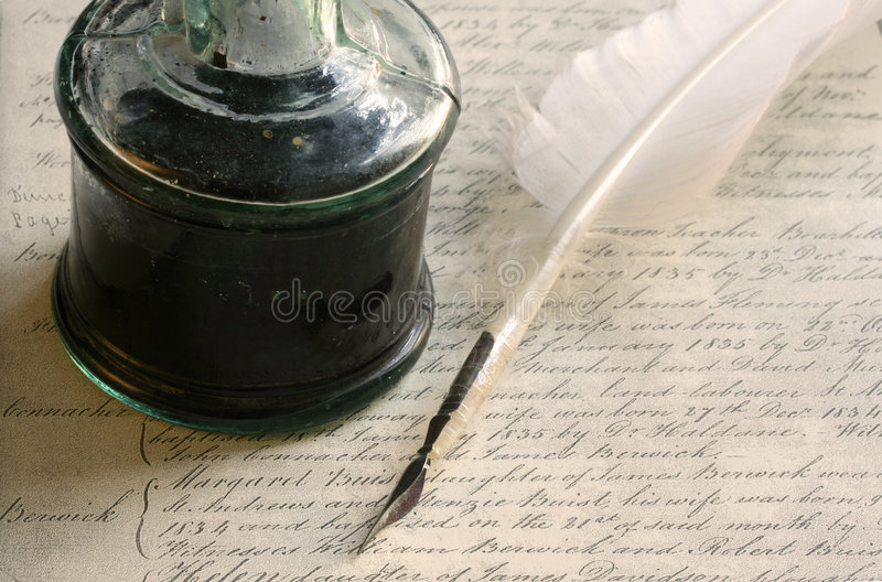 Download Feather Quill Pen And Inkwell Stock Image - Image of vintage, antique: 1098693
