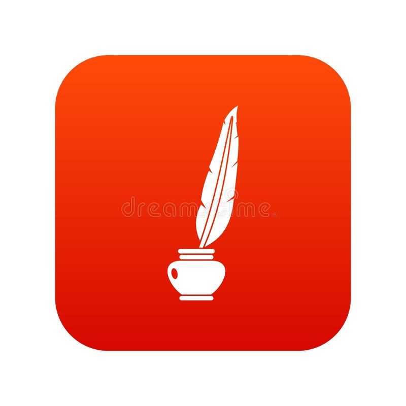 Feather quill pen standing in bottle of ink icon digital red stock illustration