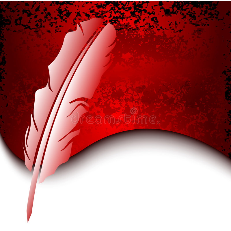 Feather on red grunge background vector illustration