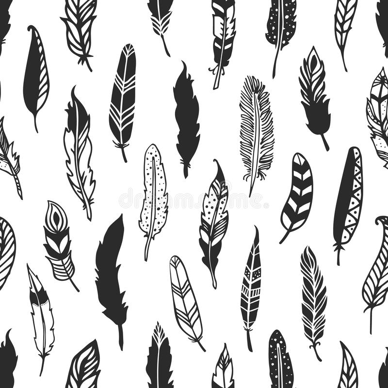 Feather rustic seamless pattern. Hand drawn vintage vector vector illustration