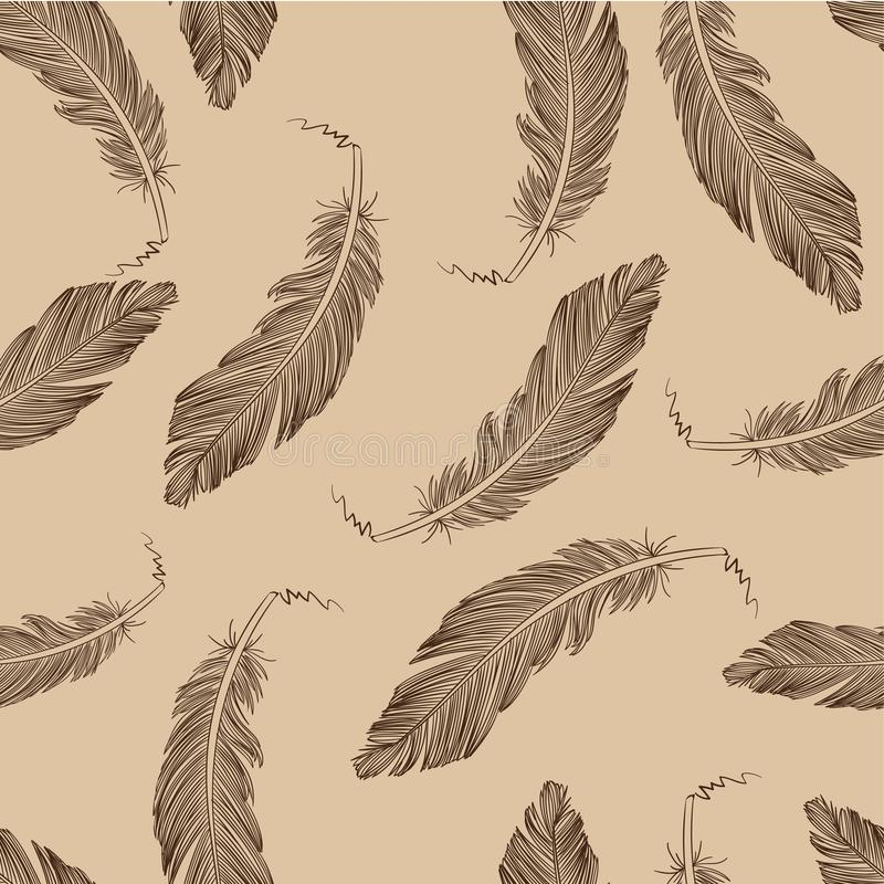 Feather Seamless Pattern stock images