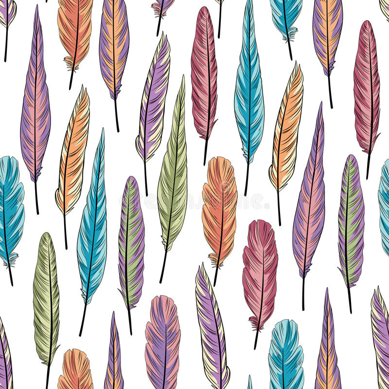 Free Feather Seamless Pattern. Colorful Illustration Of Feathe Stock Images - 66262594