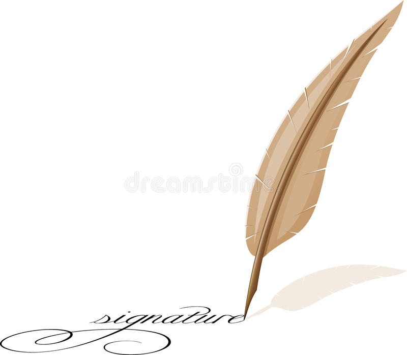 Feather and signature. Vector illustration vector illustration