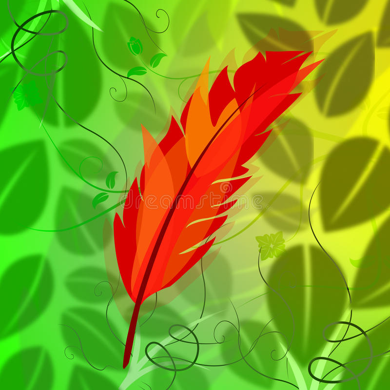 Feather Symbol Indicates Flock Of Birds And Environmental royalty free illustration