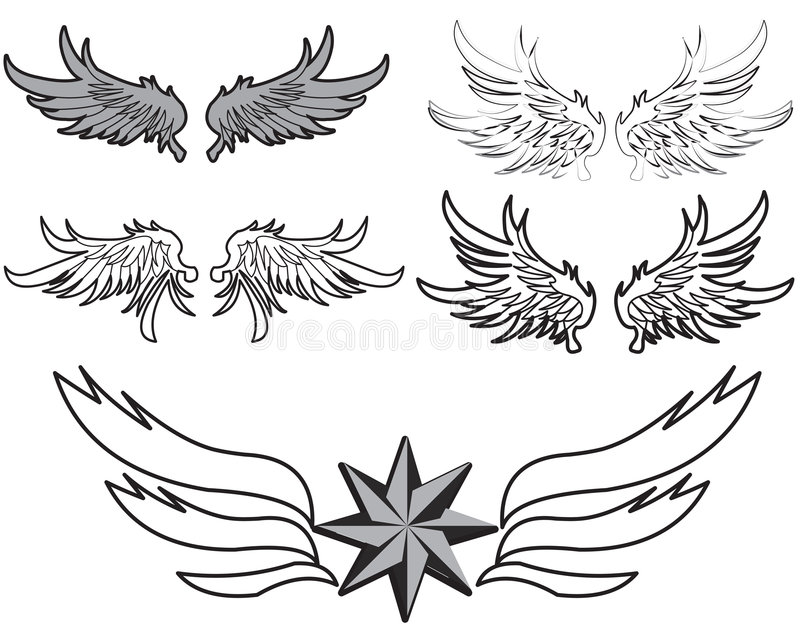 Feather wings vector illustration