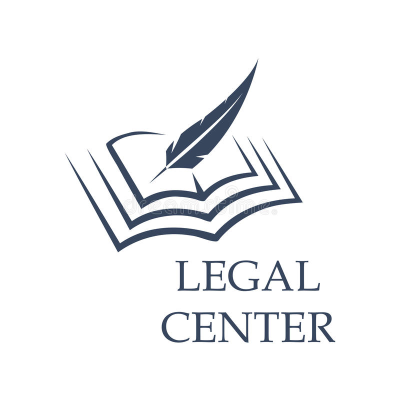 Feather writing on book as legal center sign. Legal center symbol as feather writing on book. Judgment certificate or police document, crime verdict icon stock illustration