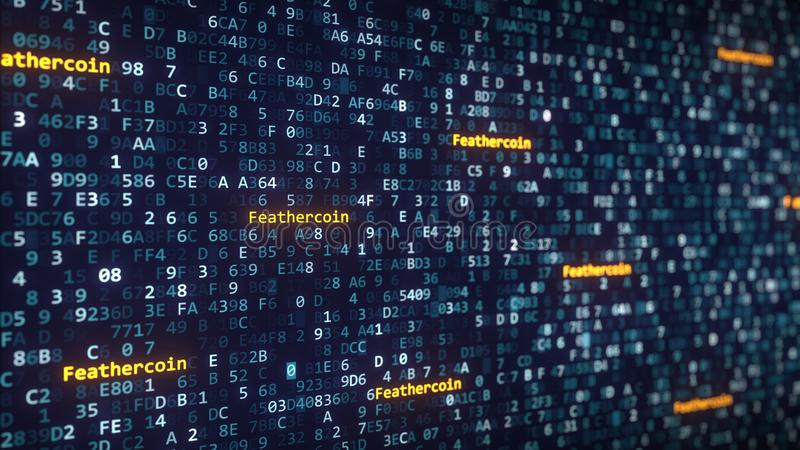 Feathercoin captions appearing among changing hexadecimal symbols on a computer screen. 3D rendering. Feathercoin captions appearing among changing hexadecimal royalty free illustration