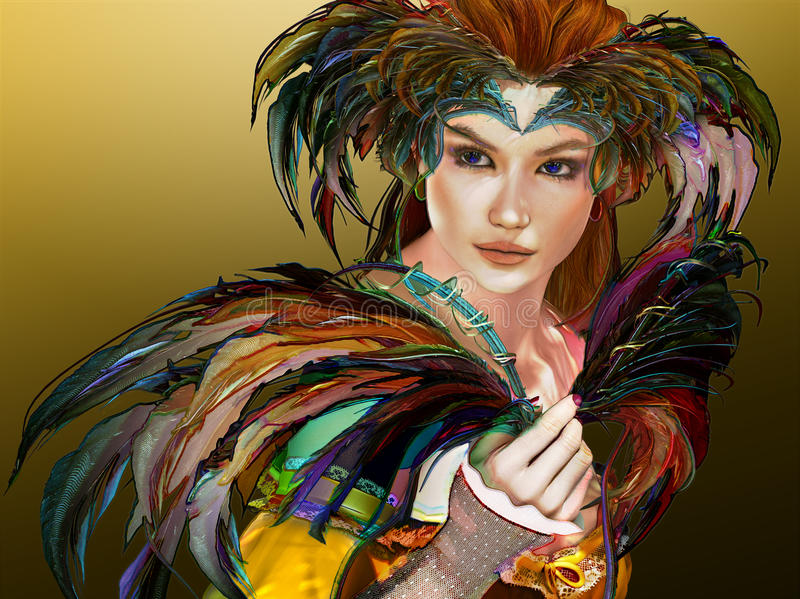 Feathered Girl, 3d CG stock illustration