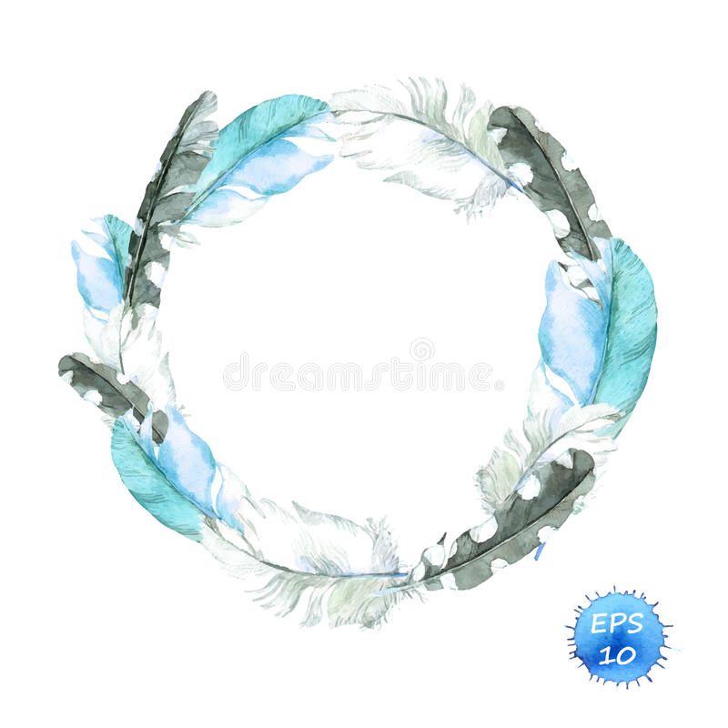 Feathers of blue bird. Wreath border. Watercolor vector for fashion stock illustration