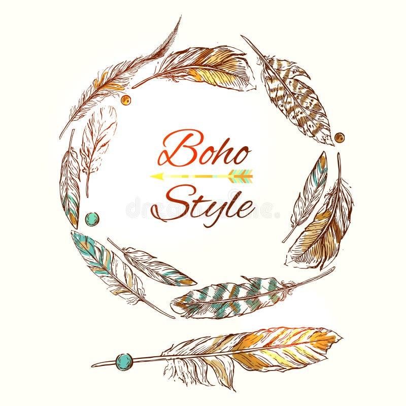 Feathers boho style royalty free illustration