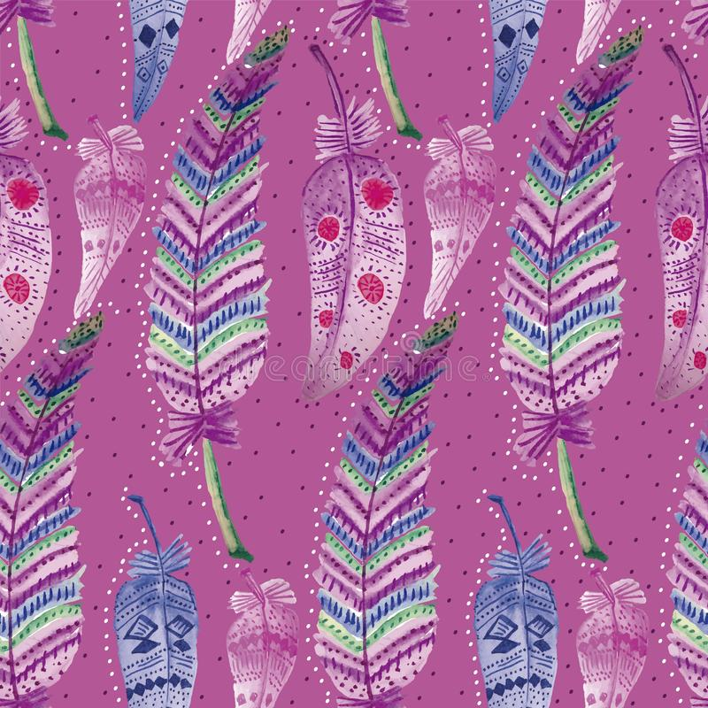 003-FEATHERS C04 PAT-07. TRIBAL SEAMLESS REPEAT PATTERN TILE , ETHNIC, SHOWING COLORFUL FEATHERS ILLUSTRATED IN WATERCOLOURS royalty free illustration