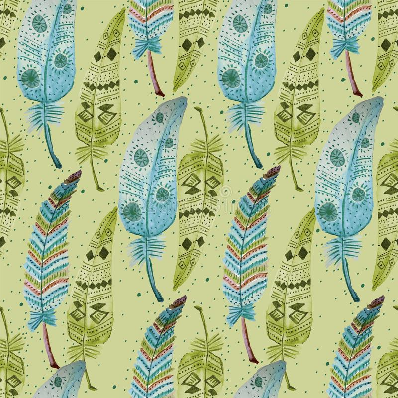 003-FEATHERS C05 PAT-06. TRIBAL SEAMLESS REPEAT PATTERN TILE , ETHNIC, SHOWING COLORFUL FEATHERS ILLUSTRATED IN WATERCOLOURS stock illustration