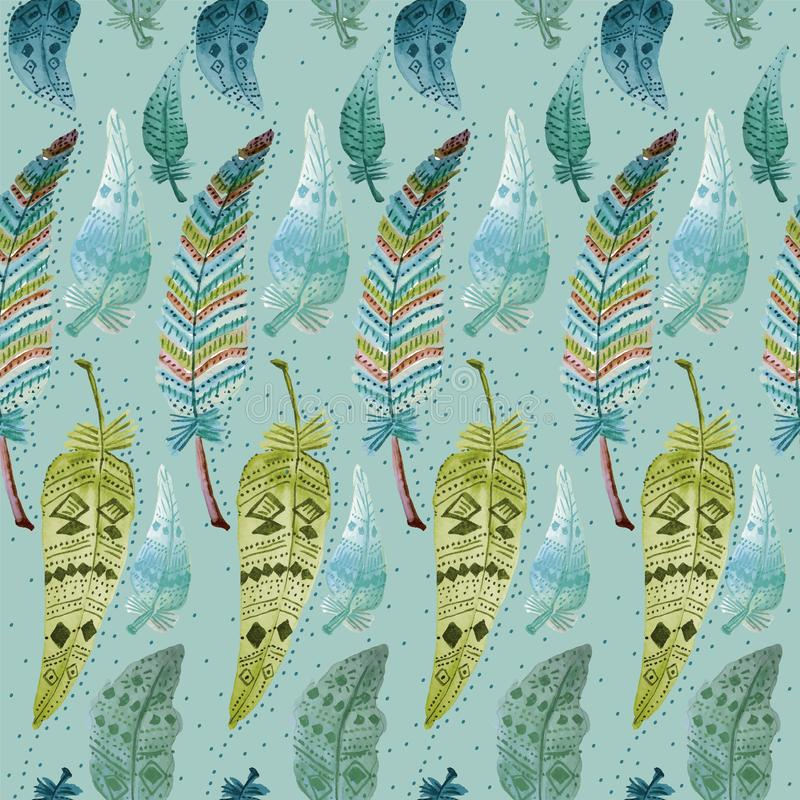 003-FEATHERS C05 PAT-09. TRIBAL SEAMLESS REPEAT PATTERN TILE , ETHNIC, SHOWING COLORFUL FEATHERS ILLUSTRATED IN WATERCOLOURS vector illustration