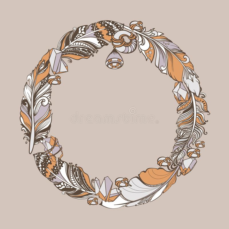 Feathers, crystals, beads ethnic elements. Vector hand drawn wreath. royalty free illustration