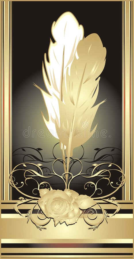 Feathers on the decorative background stock images