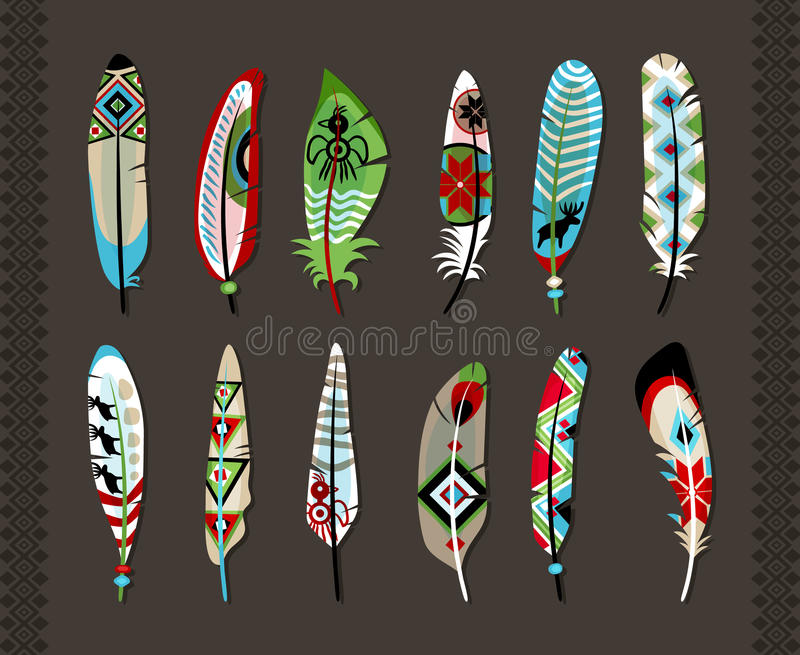 Feathers painted with colorful ethnic pattern royalty free illustration