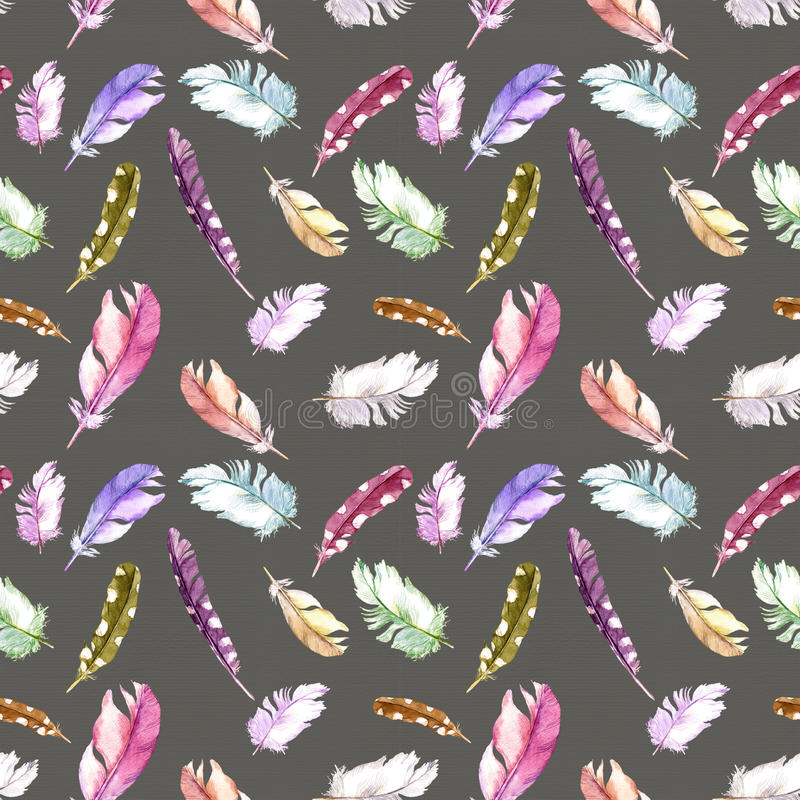 Download Feathers Pattern For Wallpaper Design Watercolor Seamless Background Stock Photo
