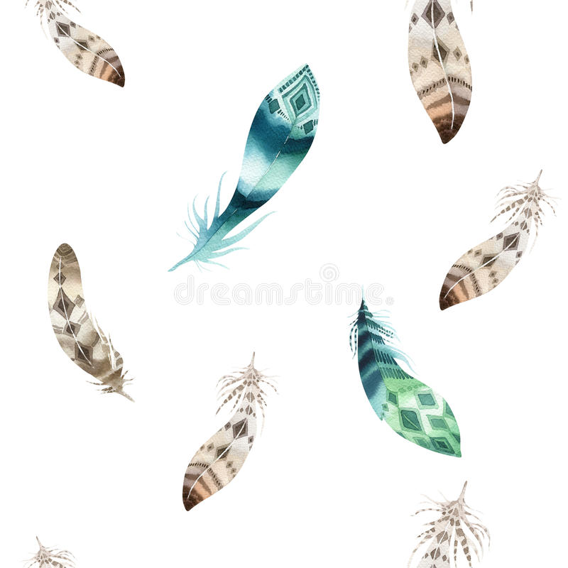 Feathers repeating pattern. Watercolor background with seamless vector illustration
