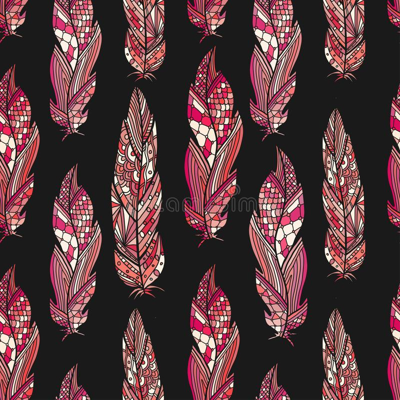 Feathers seamless pattern on dark background. Trendy pattern for fashion textile and wrapping print. Boho wallpaper design royalty free illustration