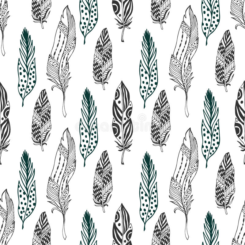 Feathers seamless pattern in ethnic style. Hand drawn zentangle doodle ornament pattern with vector feather vector illustration