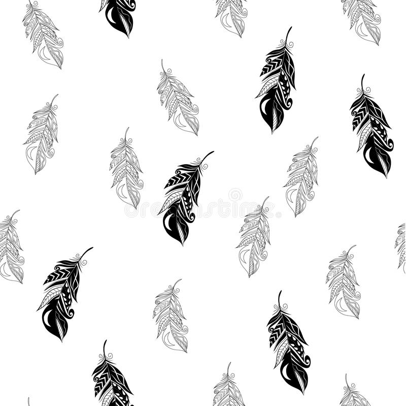 Feathers seamless pattern in zentangle style. vector illustration